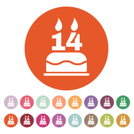 number 14: The birthday cake with candles in the form of number 14 icon. Birthday symbol. Flat Vector illustration. Button Set Illustration