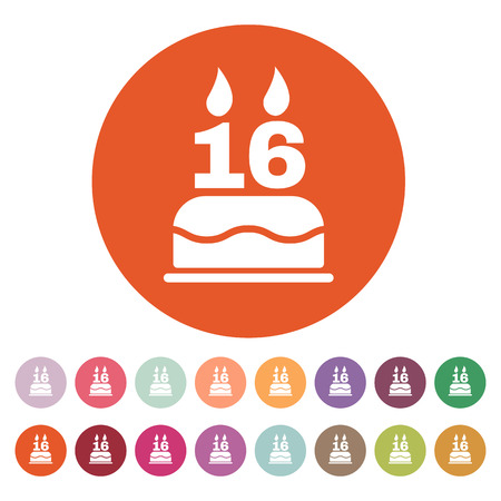 sweet sixteen: The birthday cake with candles in the form of number 16 icon. Birthday symbol. Flat Vector illustration. Button Set