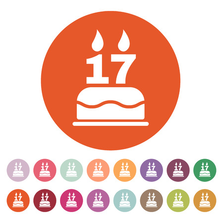 sweet seventeen: The birthday cake with candles in the form of number 17 icon. Birthday symbol. Flat Vector illustration. Button Set