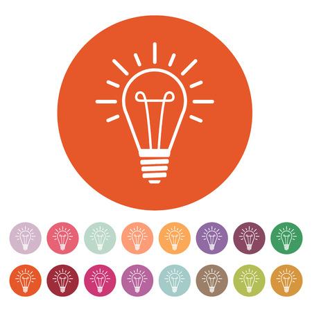 The lightbulb icon. Illumination symbol. Flat Vector illustration. Button Set