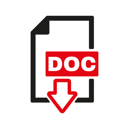 format: The DOC icon. Text file format symbol. Flat Vector illustration
