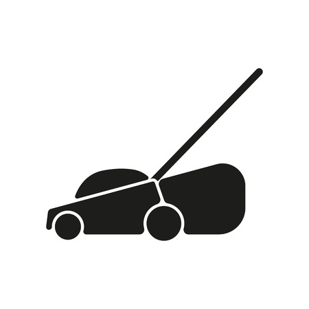The lawn mower icon. Grass symbol. Flat Vector illustration