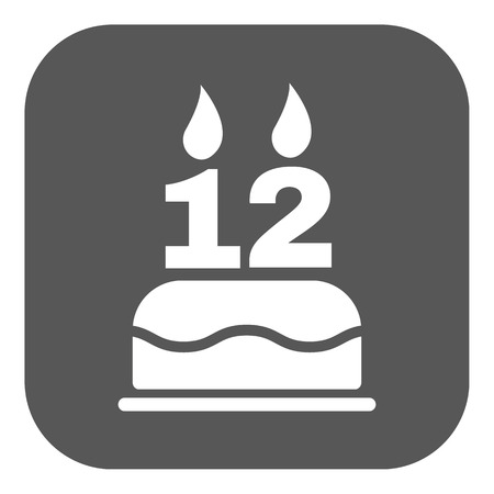number 12: The birthday cake with candles in the form of number 12 icon. Birthday symbol. Flat Vector illustration. Button Illustration