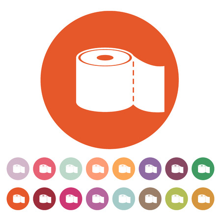 sanitary towel: The toilet paper icon. Bathroom symbol. Flat Vector illustration. Button Set