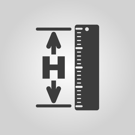 height: The height icon. Altitude, elevation, level, hgt symbol. Flat Vector illustration