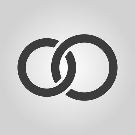 casamento: O ícone anel de casamento United. Casamento e glande símbolo. Vector a ilustração plana Ilustração
