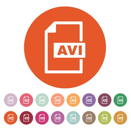 avi: The AVI icon. Video file format symbol. Flat Vector illustration. Button Set