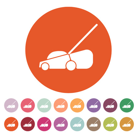 push mower: The lawn mower icon. Grass symbol. Flat Vector illustration. Button Set