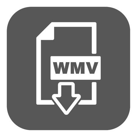 wmv: The WMV icon. Video file format symbol. Flat Vector illustration. Button