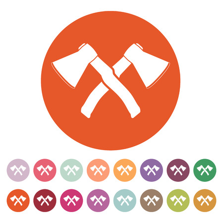 hack: The crossed axes icon. Axe and hack symbol. Flat Vector illustration. Button Set