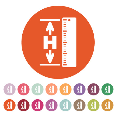 altitude: The height icon. Altitude, elevation, level, hgt symbol. Flat Vector illustration. Button Set