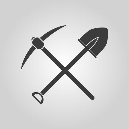 mineria: El icono de la piqueta pala cruzar. Piqueta y la excavaci�n, excavaci�n, s�mbolo de la miner�a. Ilustraci�n vectorial Flat Vectores