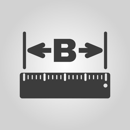 width: The width icon. Measurement and ruler symbol. Flat Vector illustration Illustration