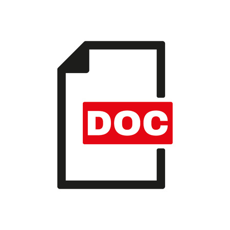 docs: The DOC icon. Text file format symbol. Flat Vector illustration