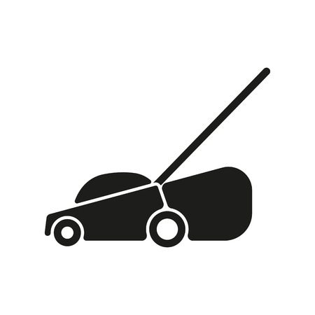 push mower: The lawn mower icon. Grass symbol. Flat Vector illustration