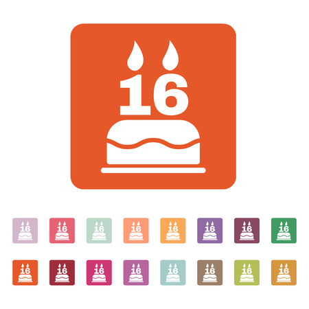 number 16: The birthday cake with candles in the form of number 16 icon. Birthday symbol. Flat Vector illustration. Button Set