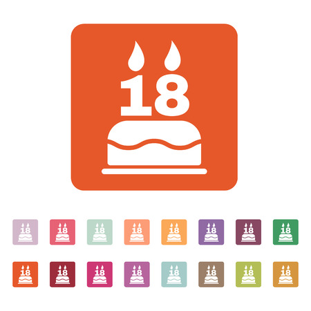 happy birthday 18: The birthday cake with candles in the form of number 18 icon. Birthday symbol. Flat Vector illustration. Button Set