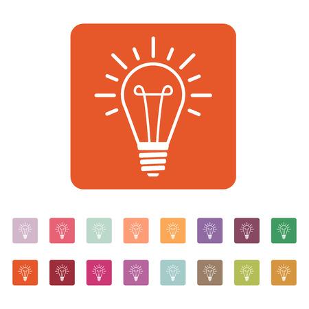 illumination: The lightbulb icon. Illumination symbol. Flat Vector illustration. Button Set