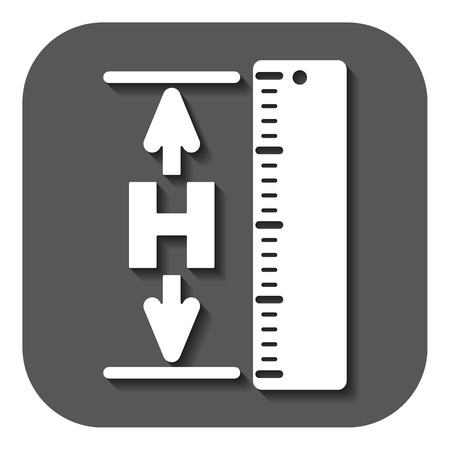 on front: The height icon. Altitude, elevation, level, hgt symbol. Flat Vector illustration. Button