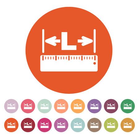 longitude: The length icon. Longitude, yardage, lgth symbol. Flat Vector illustration. Button Set Illustration
