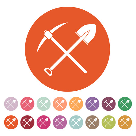 digging: The crossing spade pickax icon. Pickax and excavation, digging, mining symbol. Flat Vector illustration. Button Set