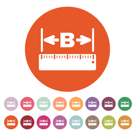 width: The width icon. Measurement and ruler symbol. Flat Vector illustration. Button Set