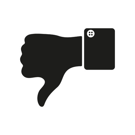 thumb down icon: The thumb down icon. Against and no symbol. Flat Vector illustration
