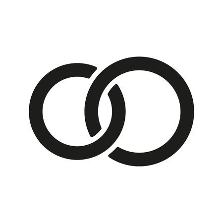 Die Vereinigten Ehering-Symbol. Ehe und Eichel-Symbol. Wohnung Vector illustration Standard-Bild - 42211497