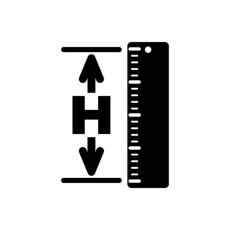 The height icon. Altitude, elevation, level, hgt symbol. Flat Vector illustration