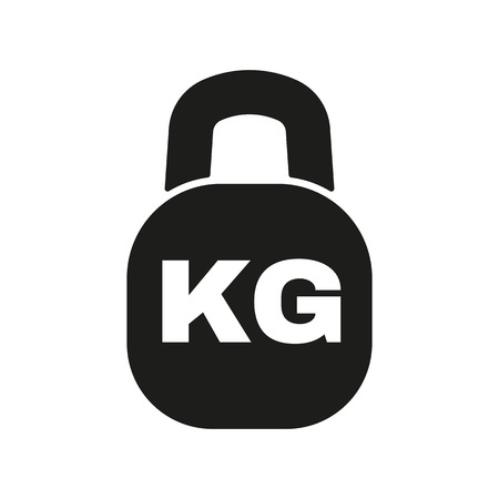 kilograms: The kilogram icon. Kg and weight symbol. Flat Vector illustration
