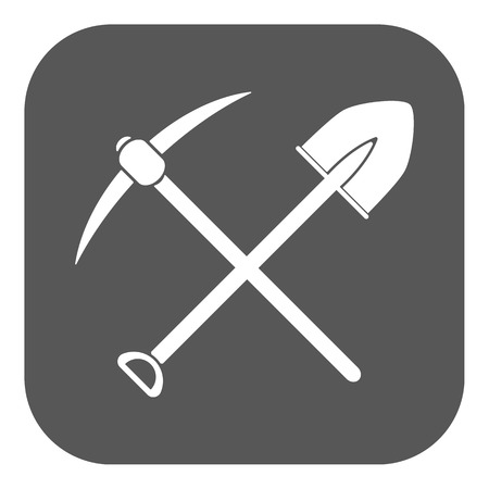 excavation: The crossing spade pickax icon. Pickax and excavation, digging, mining symbol. Flat Vector illustration. Button