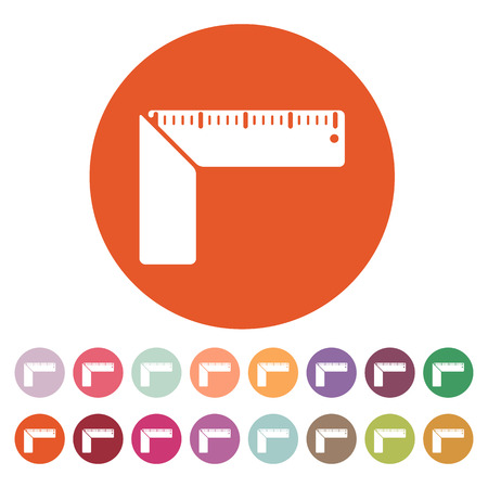 calibrated: The setsquare icon. Building square symbol. Flat Vector illustration. Button Set
