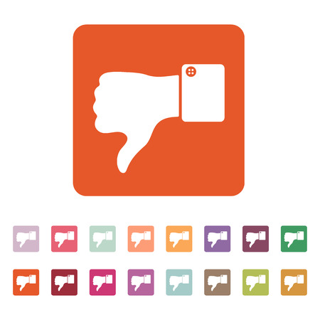 thumb down: The thumb down icon. Against and no symbol. Flat Vector illustration. Button Set