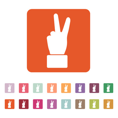 gesture set: The Hand showing victory gesture icon. Victoty symbol. Flat Vector illustration. Button Set
