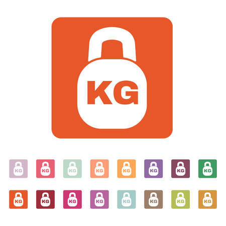 The kilogram icon. Kg and weight symbol. Flat Vector illustration. Button Set