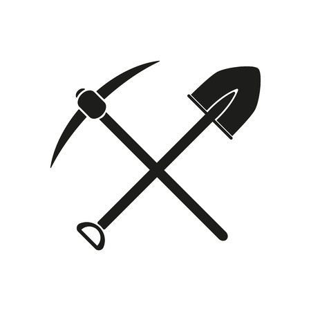 The crossing spade pickax icon. Pickax and excavation, digging, mining symbol. Flat Vector illustration