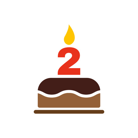 number candles: The birthday cake with candles in the form of number 2 icon. Birthday symbol. Flat Vector illustration