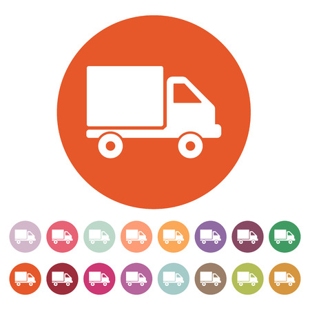 removal van: The truck icon. Delivery and shipping symbol. Flat Vector illustration. Button Set