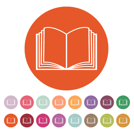 The open book icon. Manual and tutorial, instruction symbol. Flat Vector illustration. Button Set Illustration