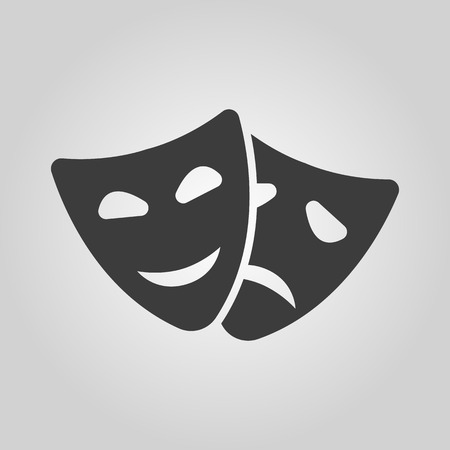 tragedy: The theater and  mask icon. Drama, comedy, tragedy symbol. Flat Vector illustration