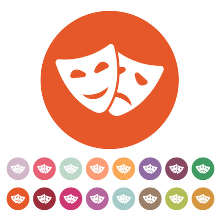 tragedy mask: The theater and  mask icon. Drama, comedy, tragedy symbol. Flat Vector illustration. Button Set