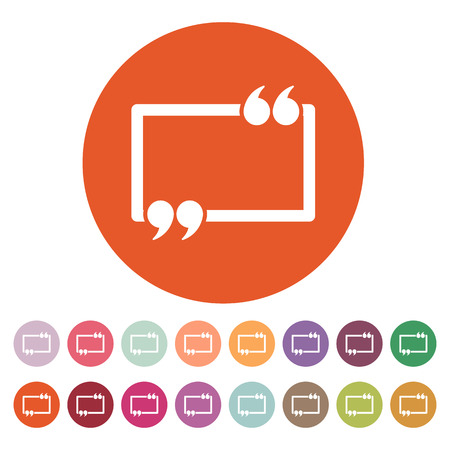 speech: The Quotation Mark Speech Bubble icon. Quotes, citation, opinion symbol. Flat Vector illustration Button Set