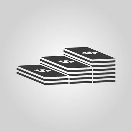 greenback: The stack of banknotes icon. Greenback, bank note, money symbol. Flat Vector illustration Illustration