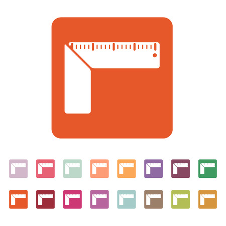 millimetre: The setsquare icon. Building square symbol. Flat Vector illustration. Button Set