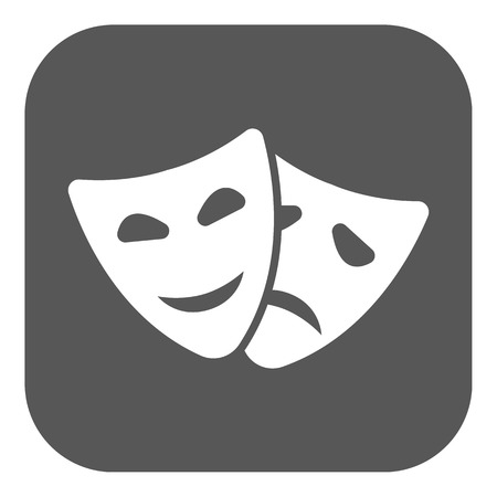 tragedy mask: The theater and  mask icon. Drama, comedy, tragedy symbol. Flat Vector illustration. Button