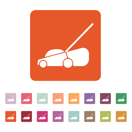 button grass: The lawn mower icon. Grass symbol. Flat Vector illustration. Button Set
