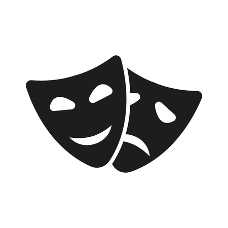 The theater and  mask icon. Drama, comedy, tragedy symbol. Flat Vector illustration