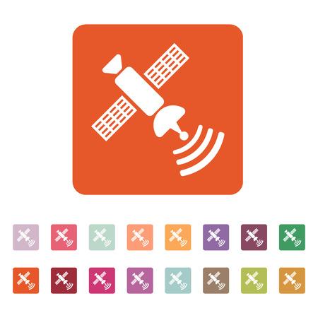 transponder: The satellite icon. TV and broadcasting, communication symbol. Flat Vector illustration. Button Set