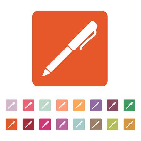 ballpoint: The pen and ballpoint icon. Writing symbol. Flat Vector illustration Button Set