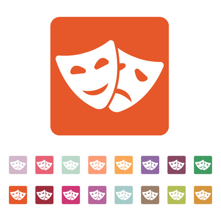 moods: The theater and  mask icon. Drama, comedy, tragedy symbol. Flat Vector illustration. Button Set